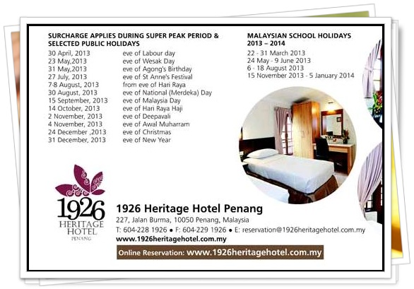 1926 Heritage Hotel Penang Address