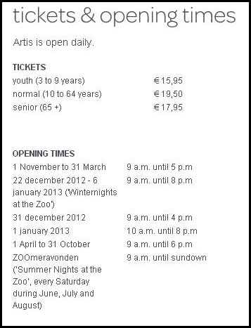 Ticket and opening time for Artist Zoo
