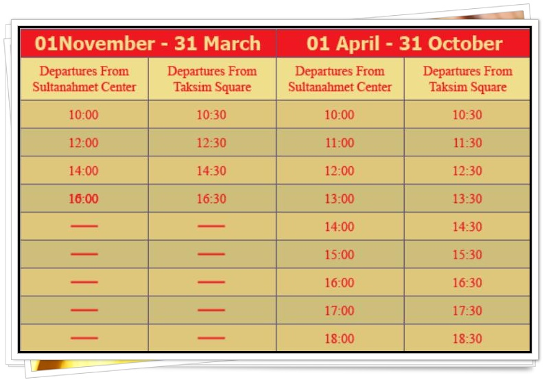 Hop on Hop Off Istanbul Timetable 2013