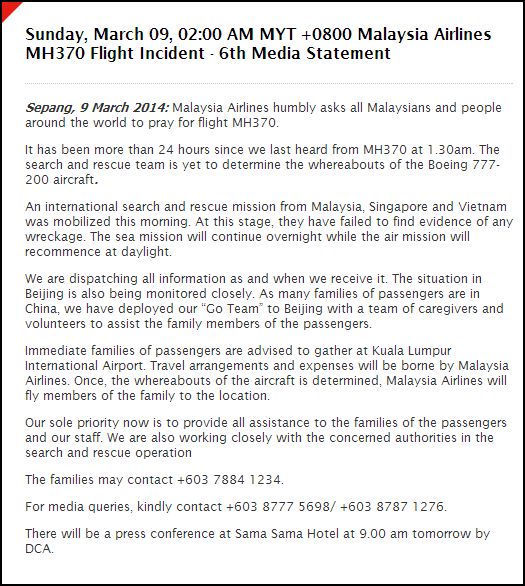 6th Media Statement - MH370